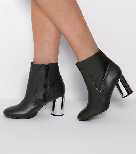 Wide Fit Black Cylindrical Metal Heel Boots | New Look