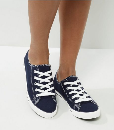 Navy Lace Up Trainers | New Look