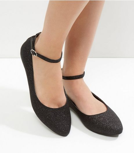 Wide Fit Black Glitter Ankle Strap Pumps | New Look