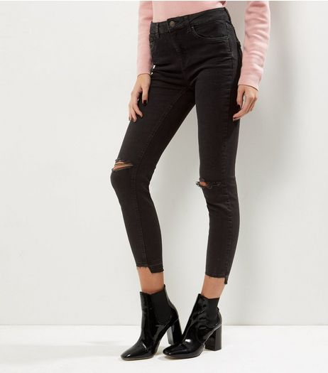 Black Ripped Knee Step Hem Skinny Jeans  | New Look