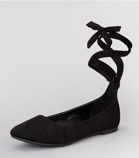 Teens Black Suedette Tie Up School Pumps | New Look