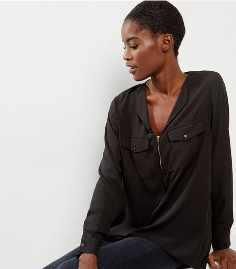 Black Zip Front Long Sleeve Shirt  | New Look