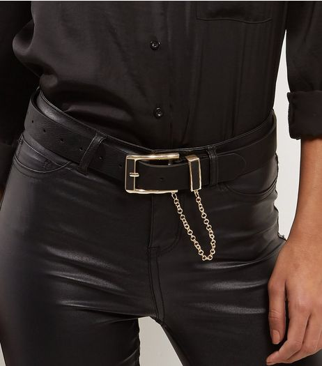 Black Leather-Look Gold Chain Jeans Belt | New Look