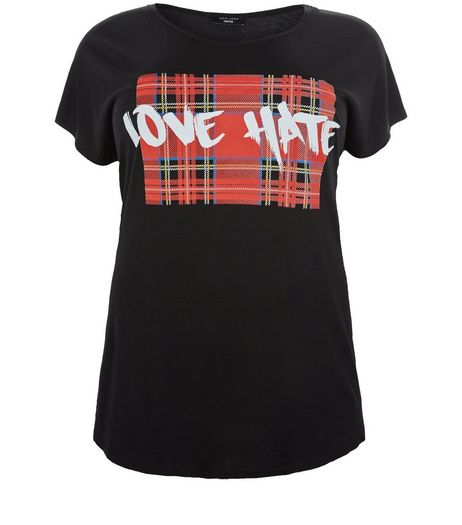 Curves Black Love Hate Check Print Panel T-Shirt | New Look