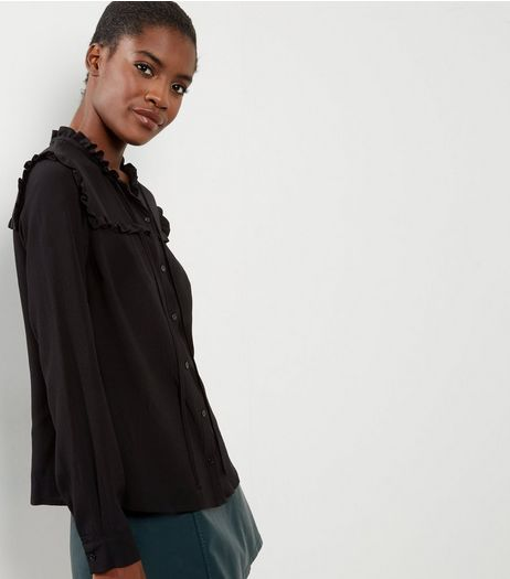 Black Yoke Frill Tirm Shirt  | New Look