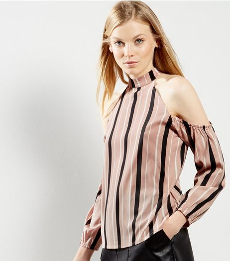 Pink Stripe Print Cold Shoulder Shell Top | New Look