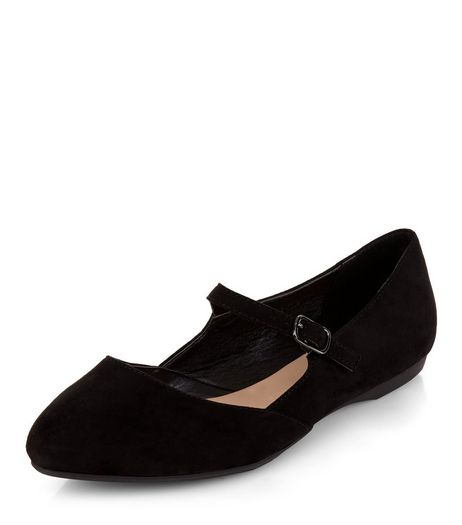Teens Black Suedette Strap Front School Pumps | New Look