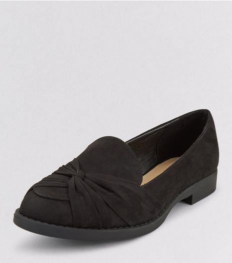 Teens Black Suedette Twist Front School Loafers  | New Look