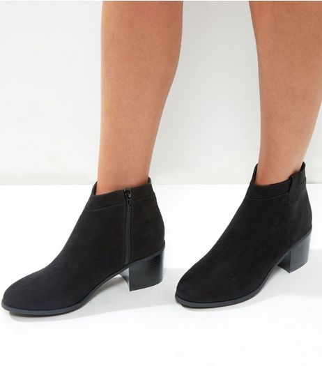 Wide Fit Black Suedette Western Ankle Boots | New Look