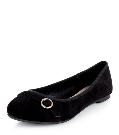 Teens Black Suedette Buckle School Pumps | New Look