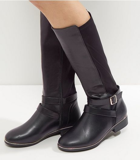Wide Fit Black Metal Trim Knee High Boots | New Look