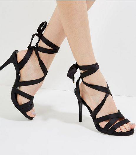 Wide Fit Black Satin Tie Up Strappy Heels | New Look