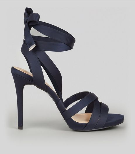 Wide Fit Navy Satin Tie Up Strappy Heels | New Look