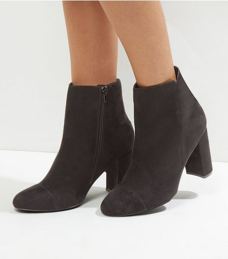 Wide Fit Black Suedette Heeled Ankle Boots | New Look