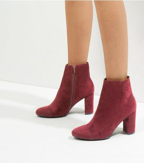 Wide Fit Dark Purple Suedette Heeled Ankle Boots | New Look