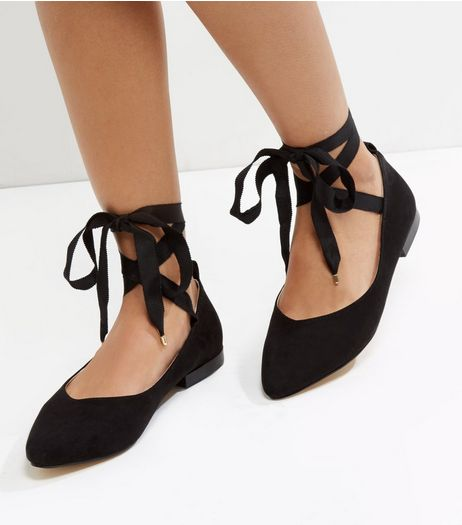 Black Suedette Tie Up Pumps | New Look