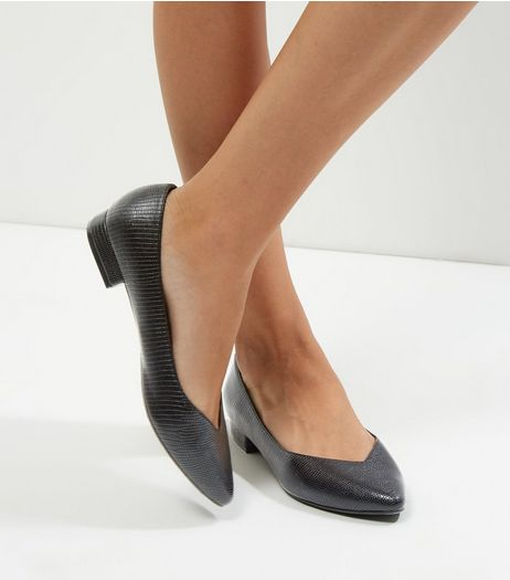 Wide Fit Black Metallic V Throat Toe Pumps | New Look