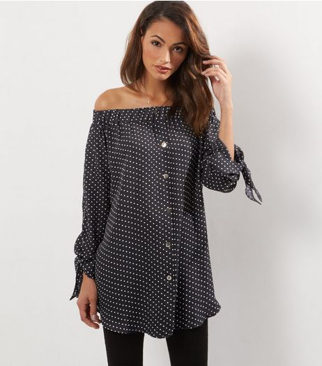 Cameo Rose Black Polka Dot Print Bardot Dress | New Look
