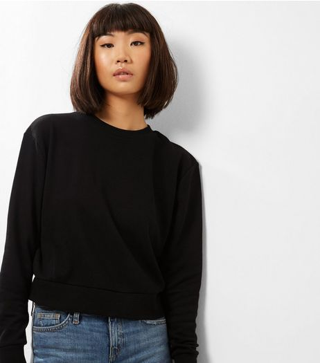 Black Ribbed Long Sleeve Cropped Sweater  | New Look