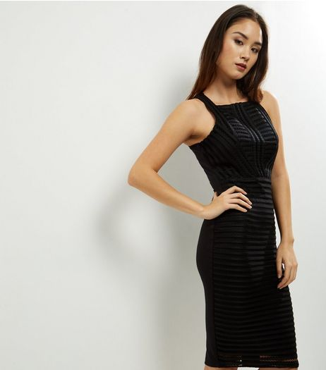 AX Paris Black Ladder Sleeveless Midi Dress | New Look