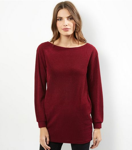 AX Paris Dark Red Bardot Neck Knitted Top  | New Look