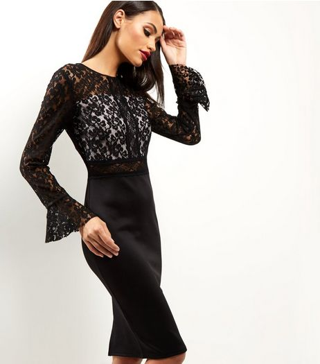 AX Paris Black Lace Long Sleeve Midi Dress | New Look