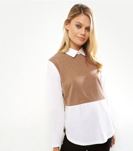 AX Paris Camel Colour Block 2 in 1 Top  | New Look
