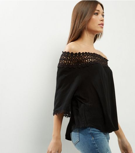 AX Paris Black Lace Trim Bardot Neck Top  | New Look