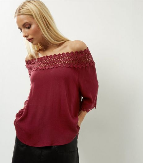 AX Paris Dark Red Lace Trim Bardot Neck Top  | New Look