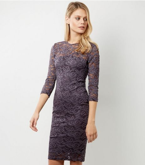 AX Paris Purple Lace 3/4 Sleeve Midi Dress | New Look
