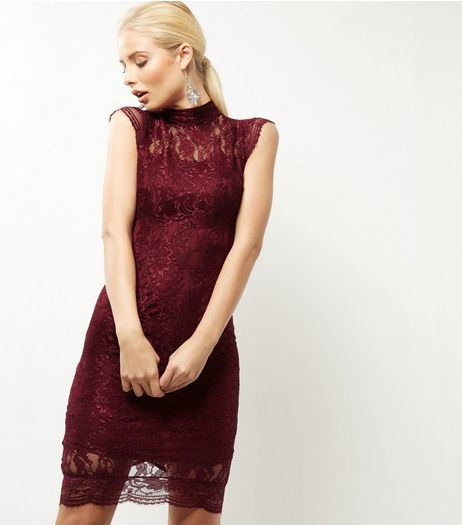 AX Paris Dark Purple Lace Cap Sleeve Dress | New Look