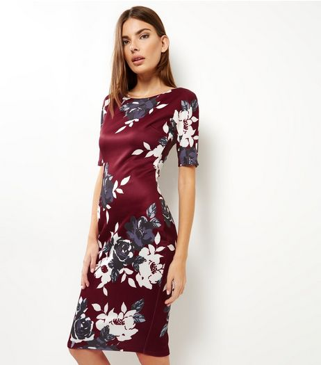 AX Paris Burgundy Floral Print Midi Dress | New Look