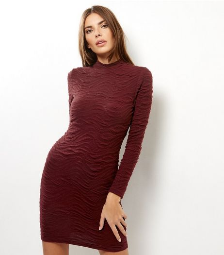 AX Paris Dark Red Textured Bodycon Dress | New Look