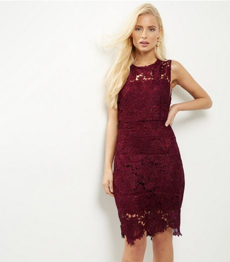 AX Paris Dark Red Crochet Lace Bodycon Dress | New Look