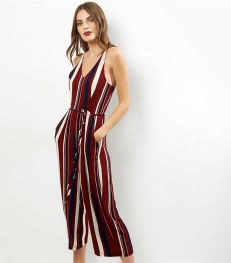 AX Paris Red Stripe V Neck Jumpsuit | New Look