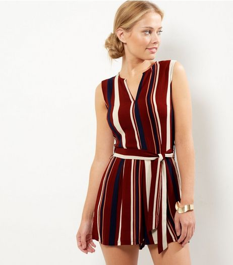 AX Paris Red Stripe V Neck Playsuit | New Look