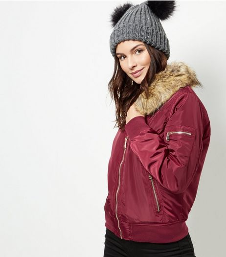 Parisian Burgundy Puffa Bomber Jacket | New Look