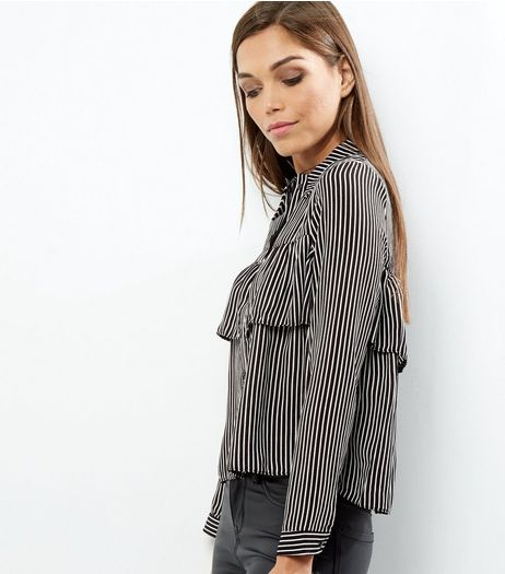 Cameo Rose Black Striped Frill Trim Long Sleeve Shirt | New Look