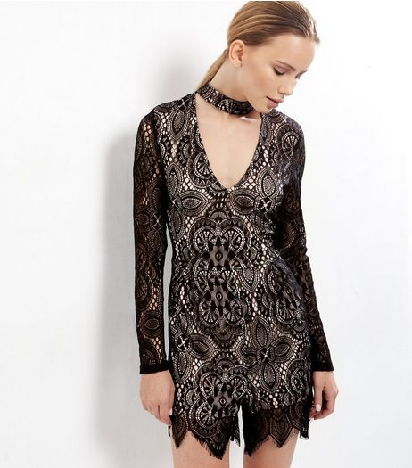 Parisian Black Lace Choker Neck Playsuit  | New Look