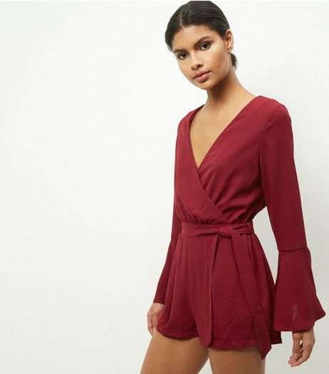 Cameo Rose Burgundy Bell Sleeve Tie Waist Playsuit | New Look