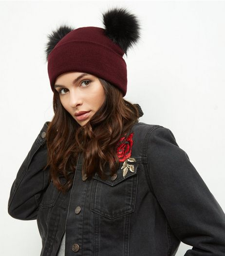 Burgundy Faux Fur Pom Pom Beanie | New Look