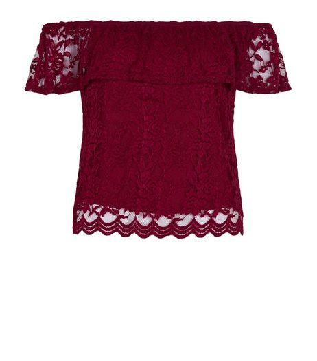 Petite Burgundy Lace Bardot Neck Frill Trim Top  | New Look