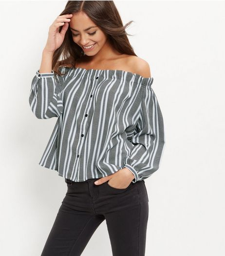 Cameo Rose Blue Stripe Long Sleeve Bardot Neck Top | New Look