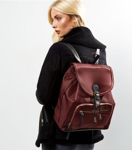 Burgundy Pocket Front Backpack | New Look