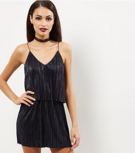 Black Metallic Pleated Layered Playsuit | New Look