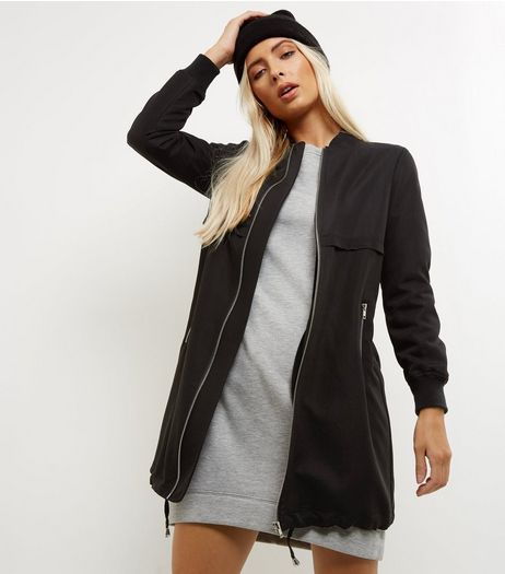 Petite Black Longline Drawstring Bomber Jacket | New Look