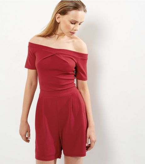 Tall Red Twist Front Bardot Neck Playsuit | New Look