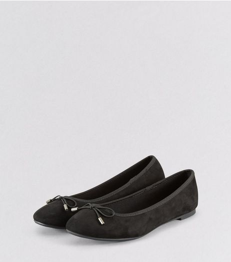 Black Suedette Ballet Pumps | New Look