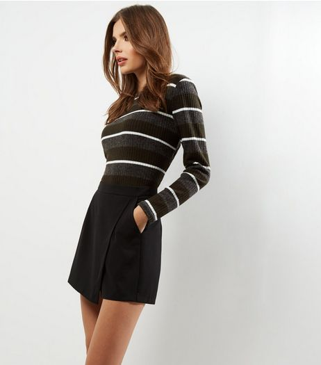 Black Crepe Wrap Front Double Pocket Skort  | New Look