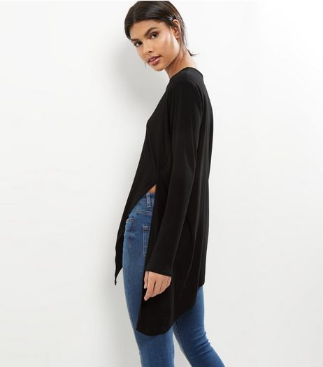 Black Asymmetrical Hem Longline Top  | New Look